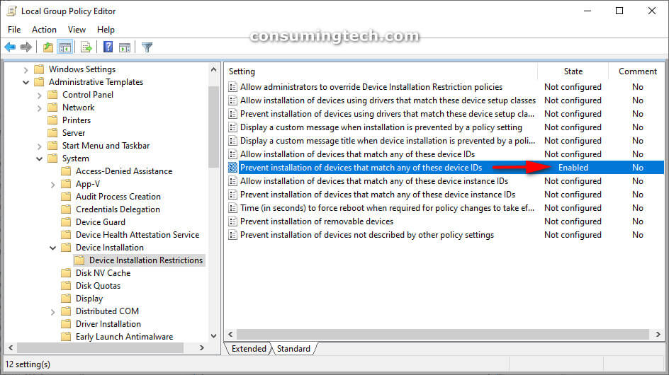 Local Group Policy Editor: Prevent installation of devices that match any of these device IDs: Enabled Status