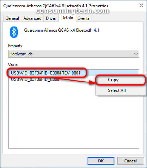 Hardware IDs value for the Bluetooth driver via Device Manager