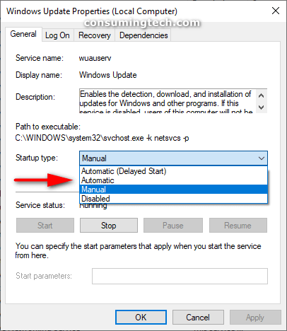 Windows Update Properties (Local Computer) dialog