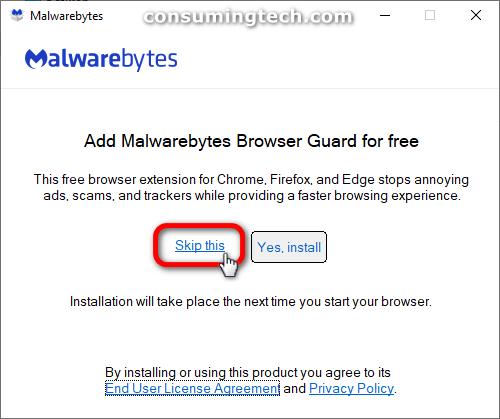Malwarebytes: Add Malwarebytes browser guard for free