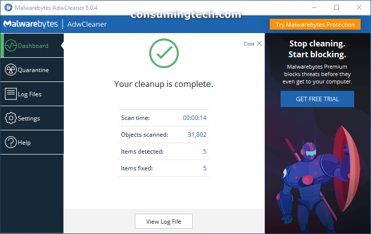 AdwCleaner: Your cleanup is complete