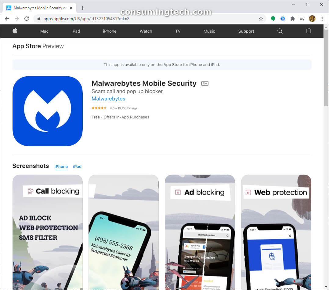 Malwarebytes on the Apple App Store