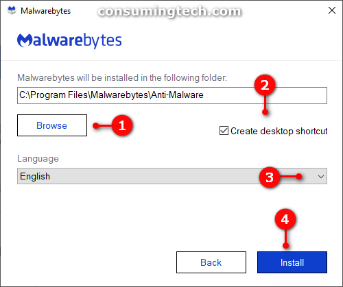 Malwarebytes Advanced Options: choose installation location, create desktop icon, choose language, and install