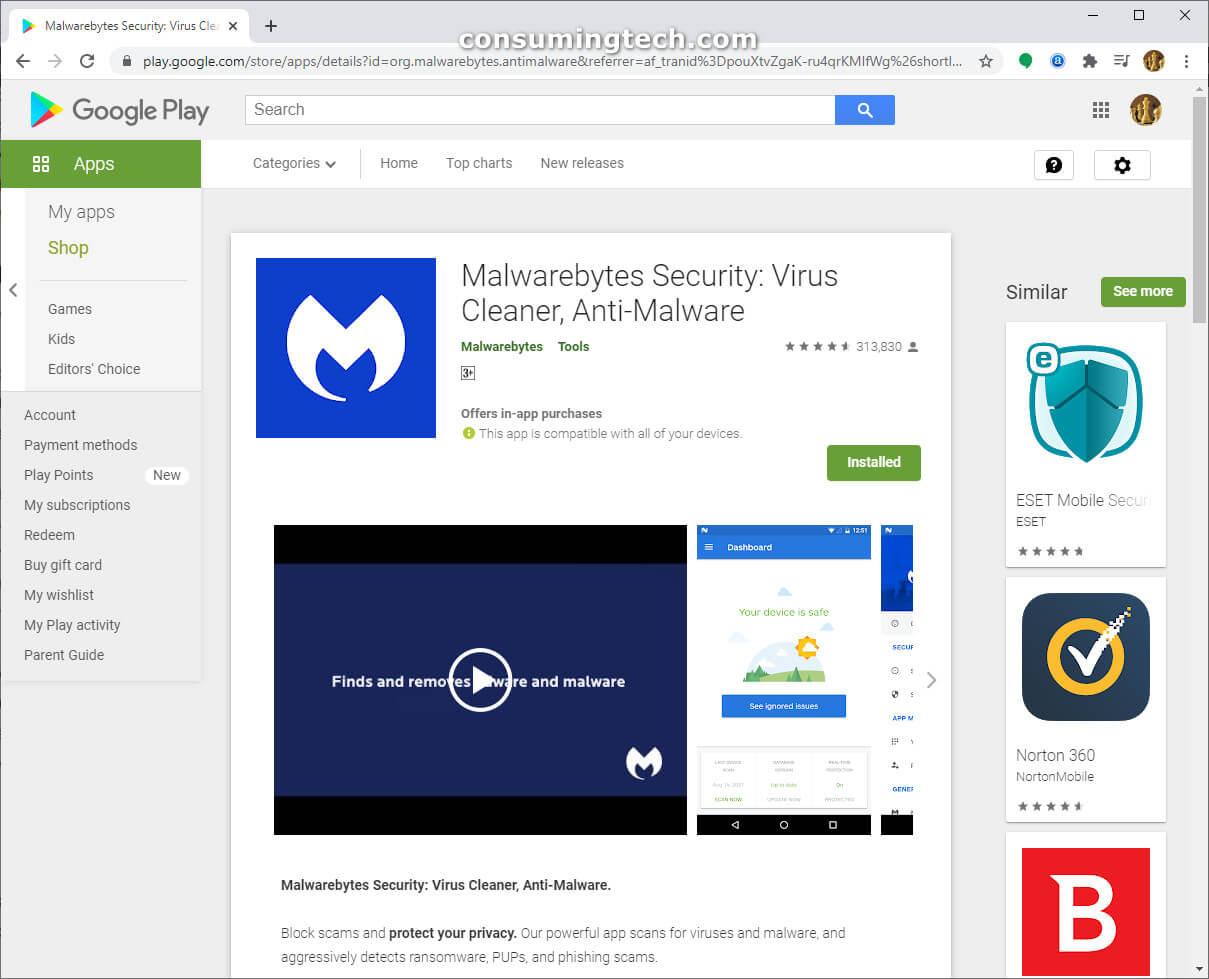 Malwarebytes on the Google Play Store