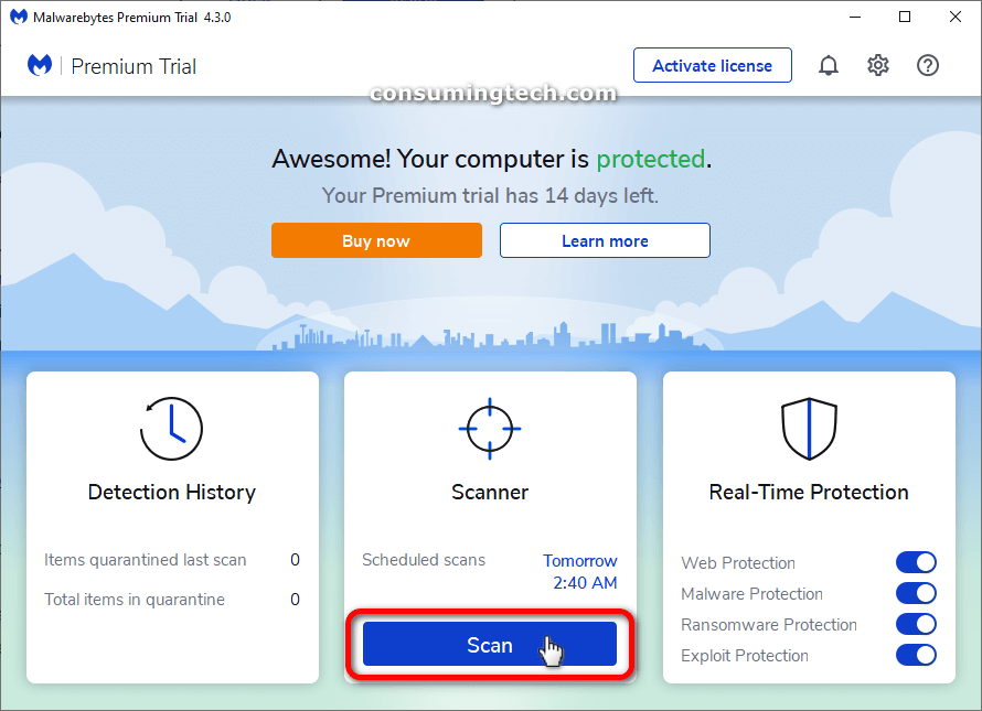Malwarebytes Premium trial: Scanner/Scan button