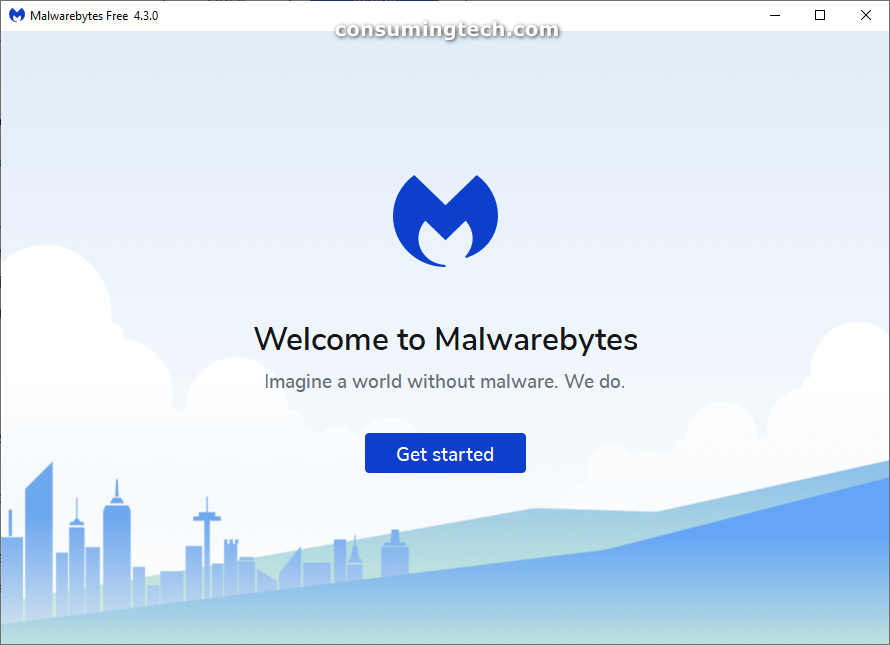 Welcome to Malwarebytes: Get started page