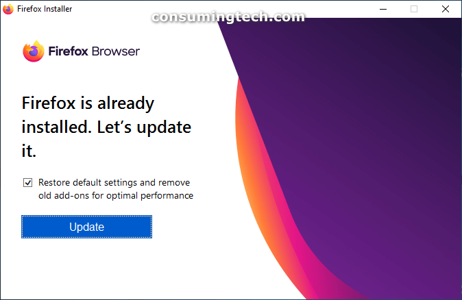 Firefox browser: Firefox is already installed. Let's update it.