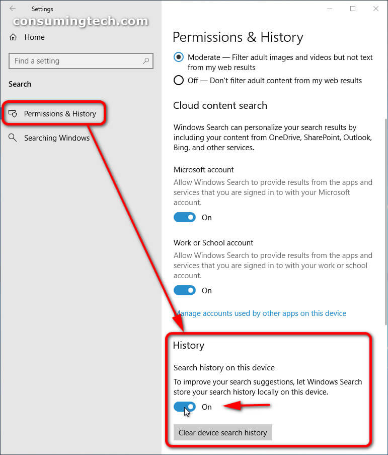 Windows 10 Settings app: Permissions and History > History toggle