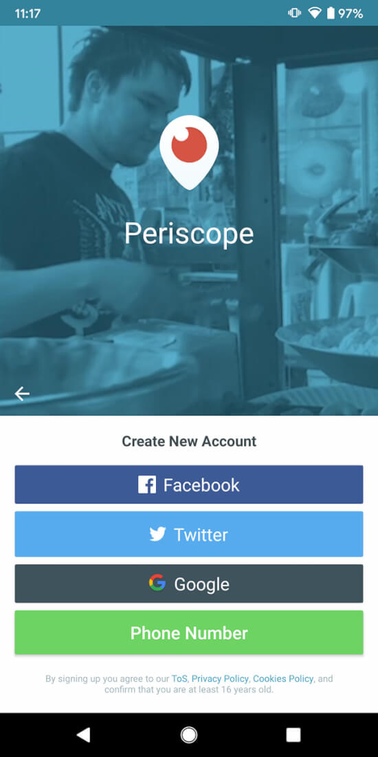 Sign in to Periscope app
