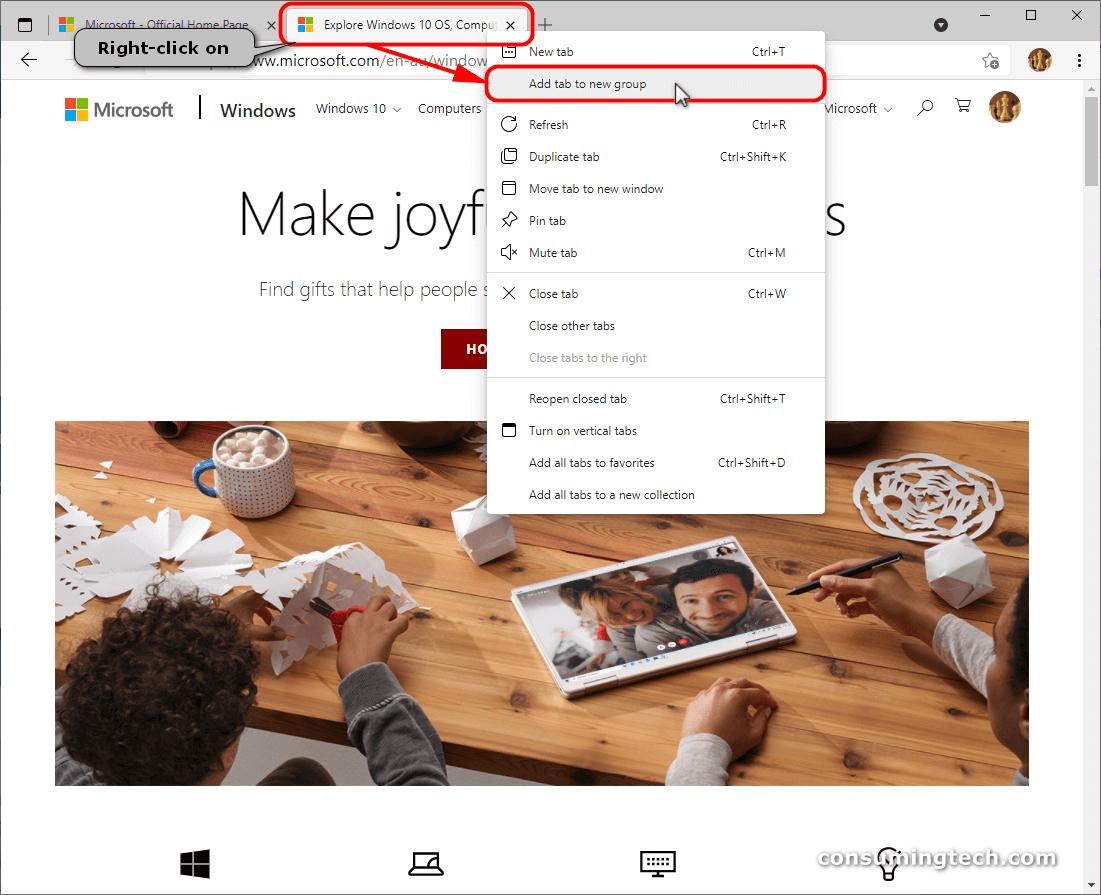 Microsoft Edge: Add tab to a new group via context menu