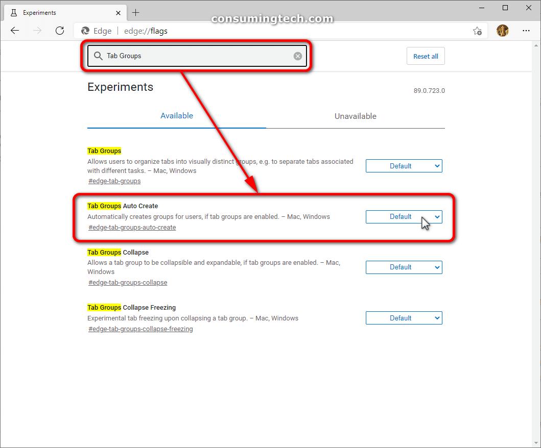 Microsoft Edge flags: Tab Groups Auto Create