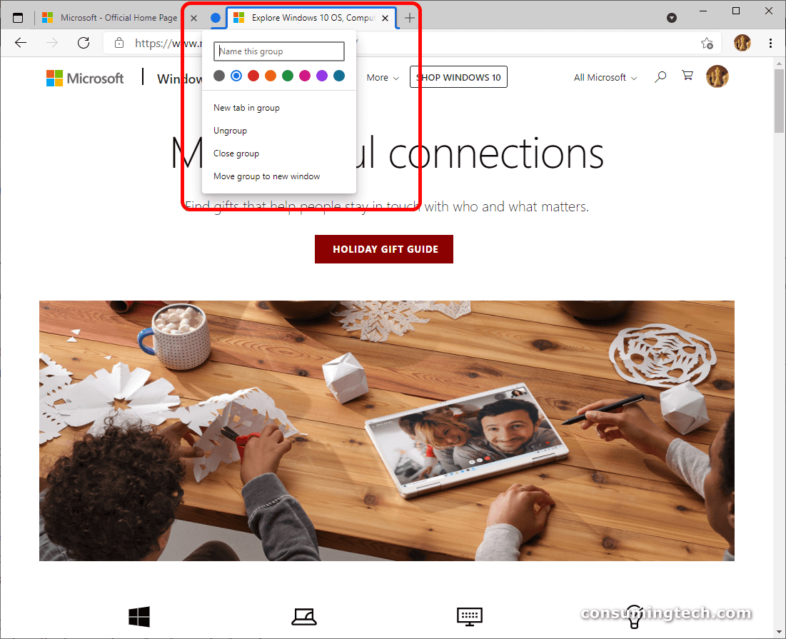 Microsoft Edge: name this group via Add tab to a new group setting