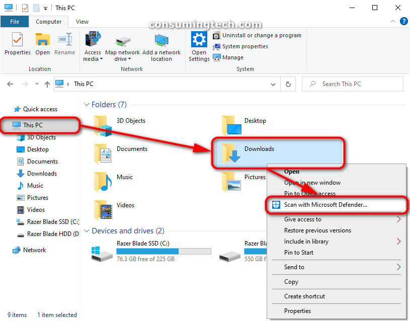 The Downloads folder found within File Explorer; Scan with Windows Defender from its context menu