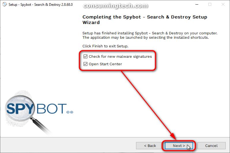 Spybot: Complete the Spybot setup wizard