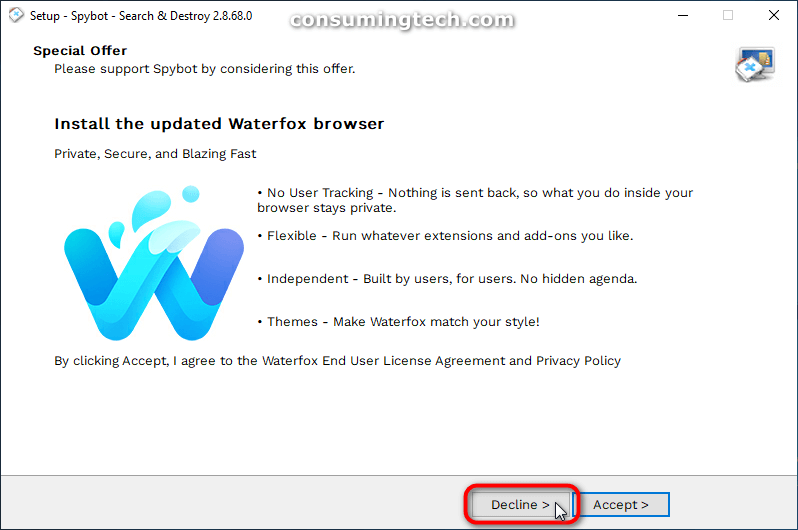 Spybot special offer: Waterfox browser