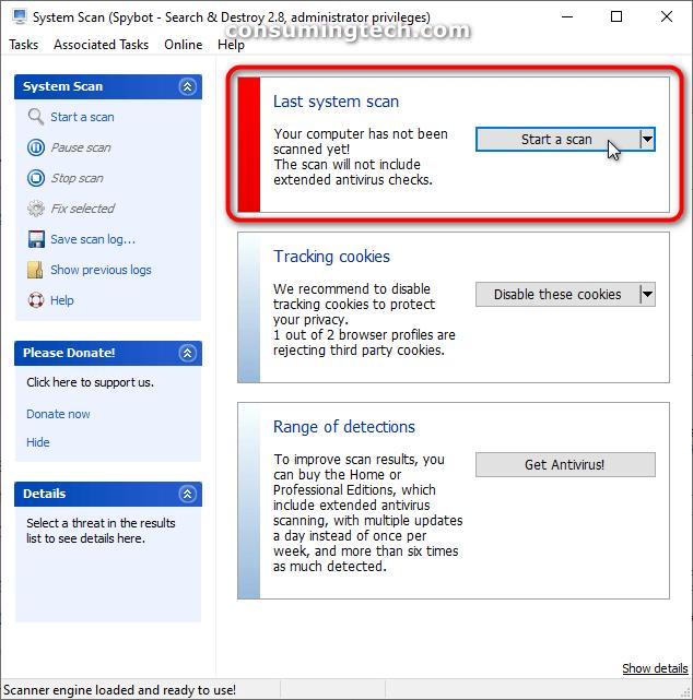 Spybot: Last system scan/Start a scan