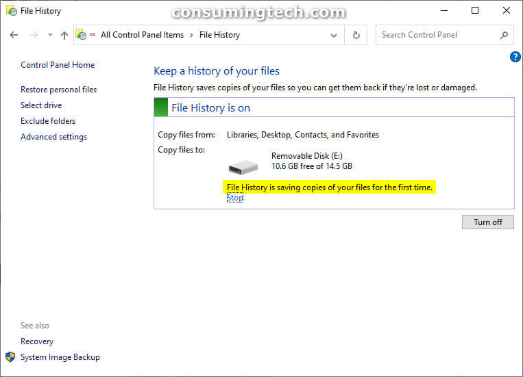 File History is saving copies of your files for the first time.