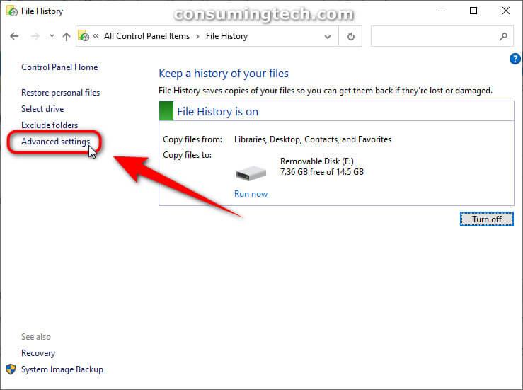 File History: Advanced settings