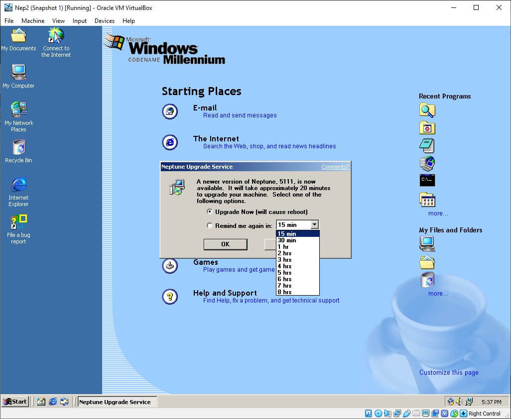 Windows Millennium Neptune upgrade service