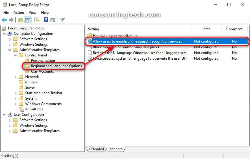 Local Group Policy Editor: Allow users to enable online speech recognition services policy