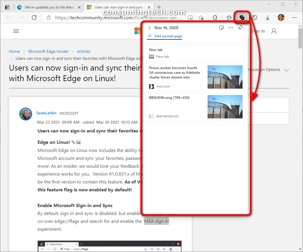 Microsoft Edge Collections currently available in Edge Dev insider builds