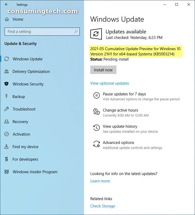 Windows 10 21H1 Build 19043.1023 (KB5003214)