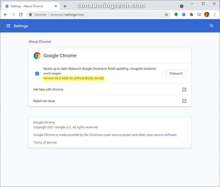 Google Chrome 90.0.4430.93