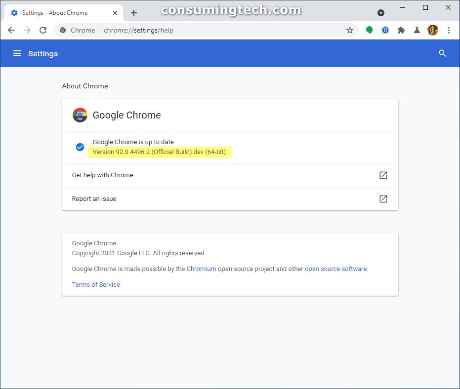 Google Chrome Dev 92.0.4496.2