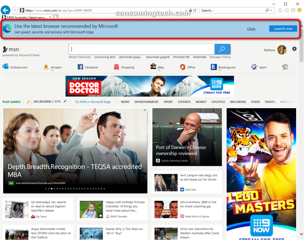 Internet Explorer 11: Use the latest browser recommended by Microsoft banner