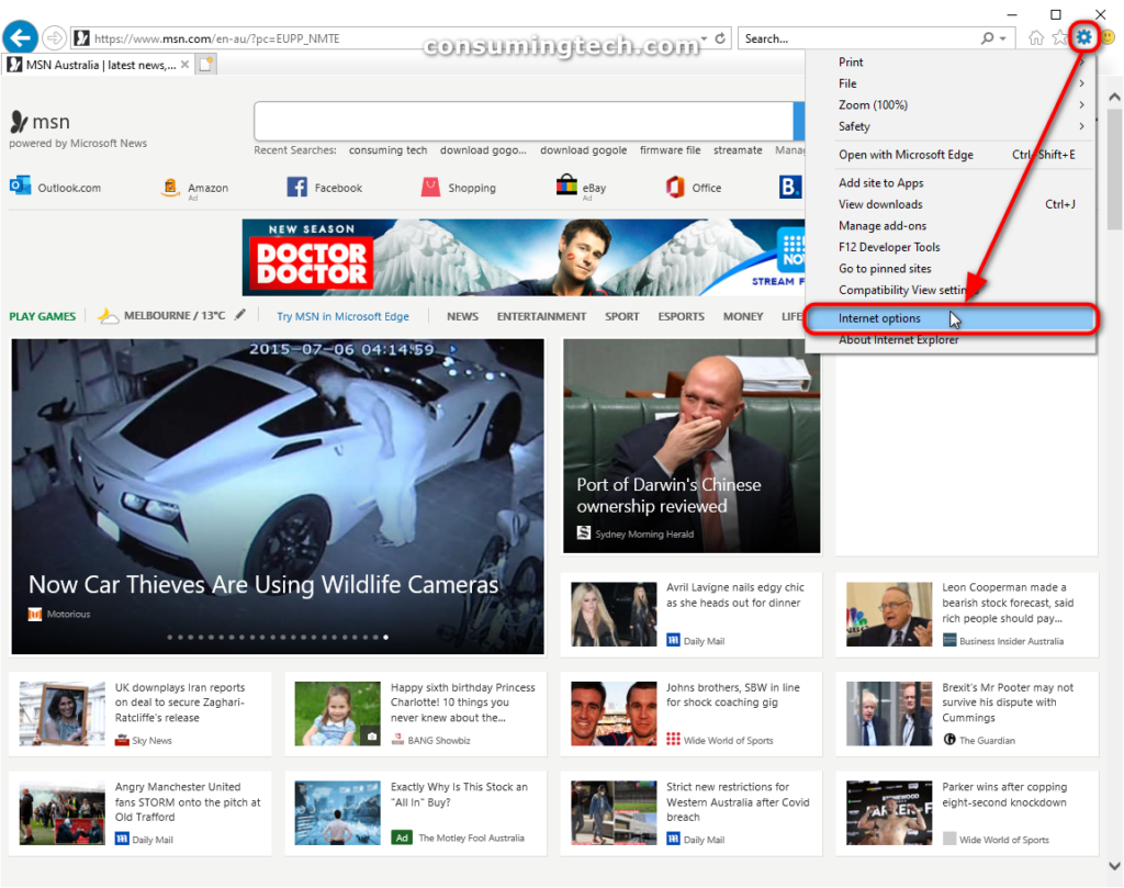 Internet Explorer 11: Internet Options