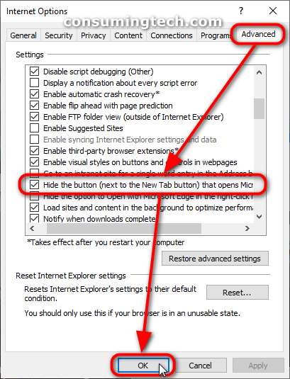 Internet Options: Hide the button (next to the New Tab button) that opens Microsoft Edge