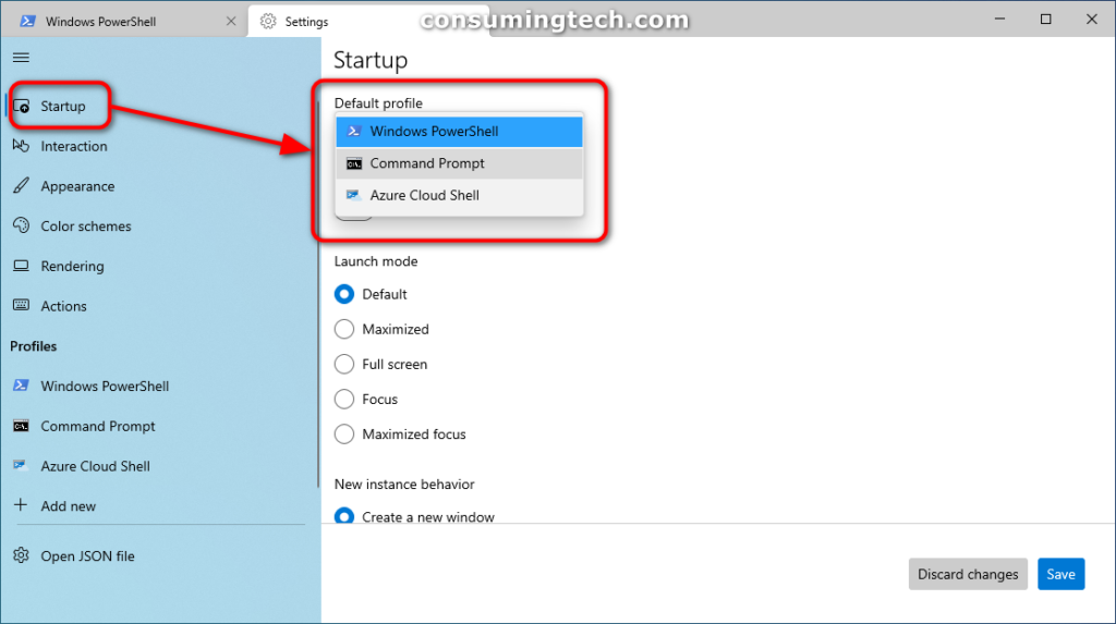Windows Terminal app Settings: Default profile