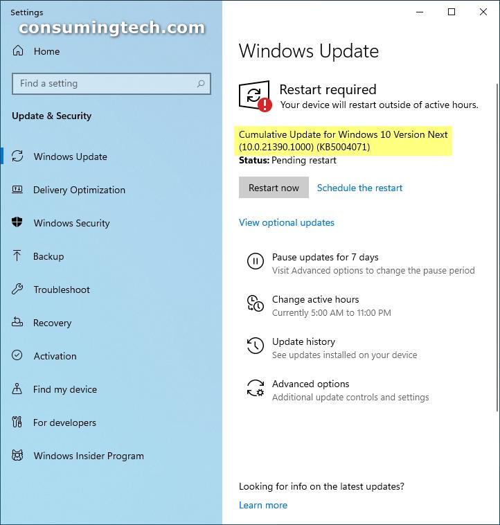 Windows 10 Cumulative Update Build 21390.1000 (KB5004071)