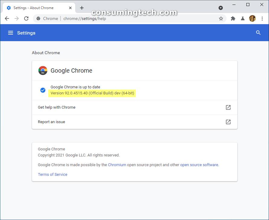Chrome 92.0.4515.40