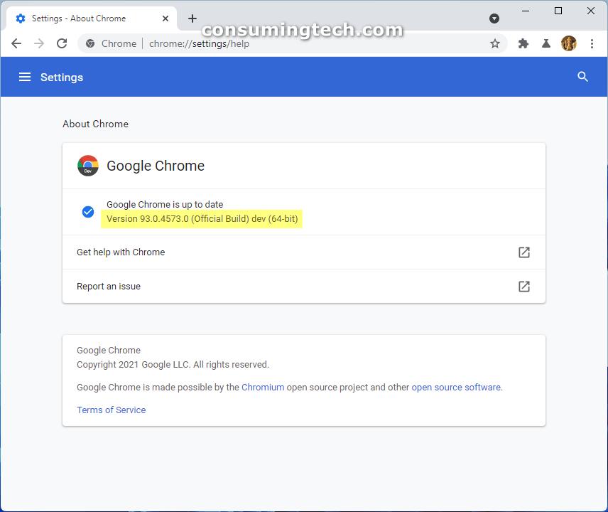Chrome 93.0.4573.0
