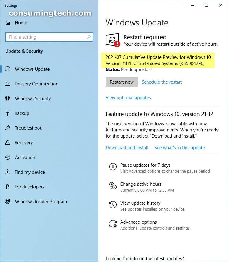 Windows 10 KB5004296