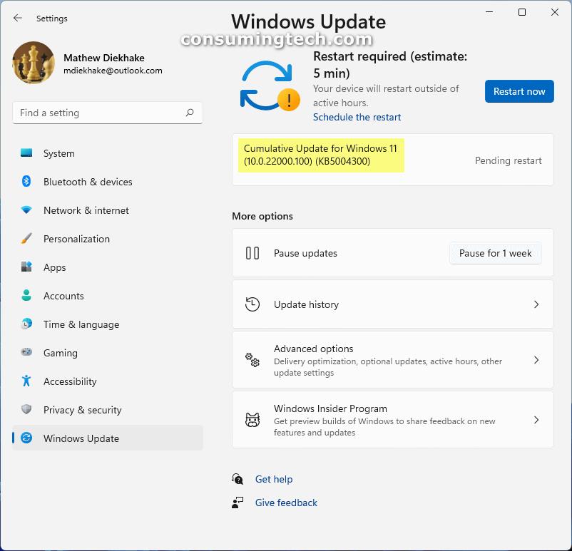 Cumulative Update for Windows 11 (10.0.22000.100) (KB5004300)