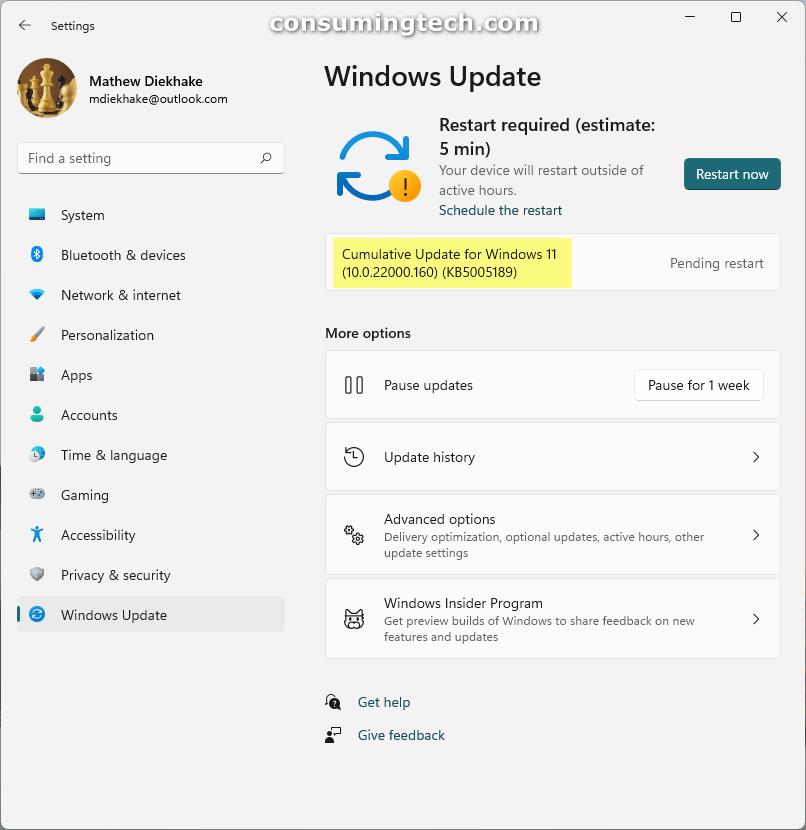 Windows 11 KB5005189 via Windows Update
