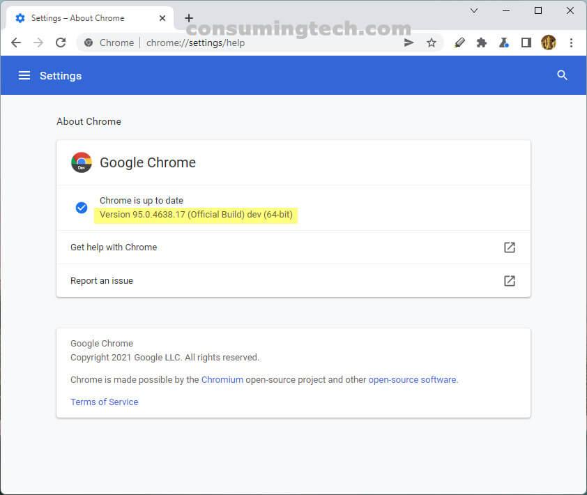 Chrome Beta 95.0.4638.17