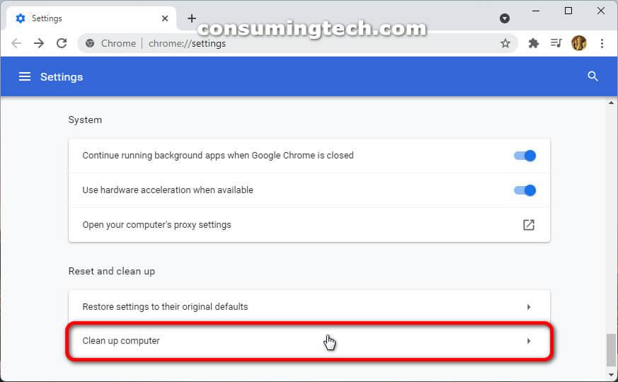 Google Chrome 94: Clean up computer