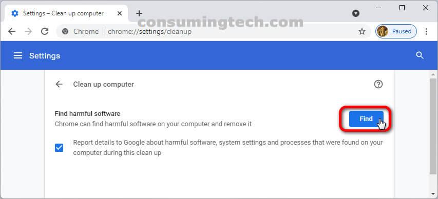 Google Chrome 94: Find harmful software
