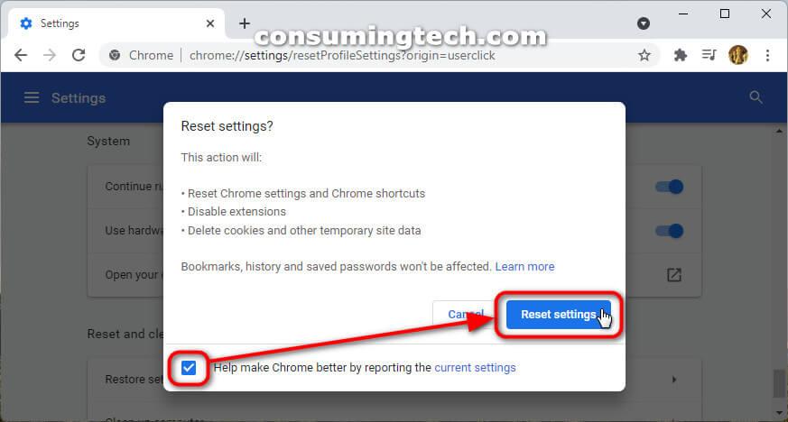 Google Chrome 94: Reset settings