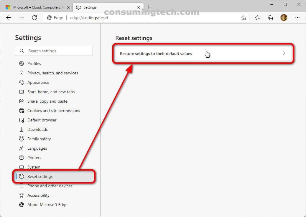 Microsoft Edge 94: Restore settings to their default values