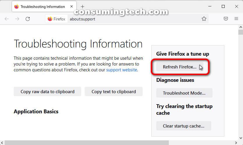Mozilla Firefox 92: Reset Firefox